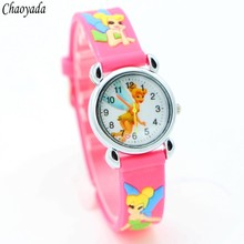 Princess Tinkerbell cartoon 3D children watches students kids wristwatch watches Free Shipping 1pcs(China)