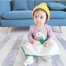 2017 new arrive infants and young children dress girls swan bow dress autumn spring clothes NZ285