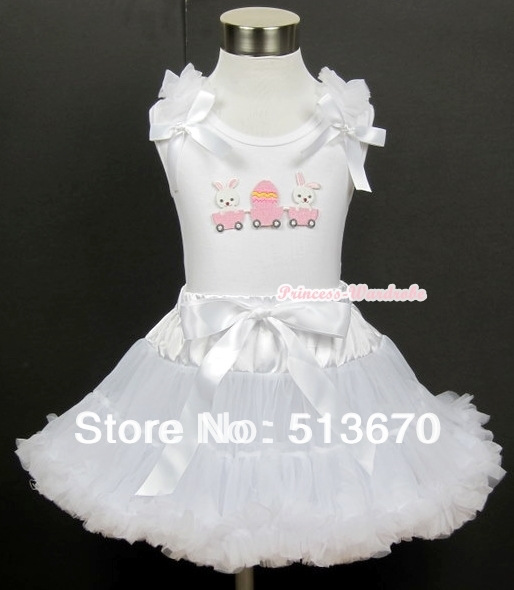 White Tank Top with Bunny Rabbit Egg Print with White Ruffles&amp; White Bow &amp; White Pettiskirt MAMG368<br>