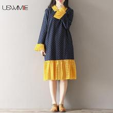USWMIE 2017 Autumn Literary Dark Blue With Yellow Lace Stitching Wave Point Printing Dress Long Sleeve Turn-down Collar Vestidos(China)