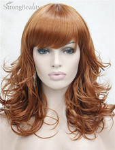 StrongBeauty Synthetic Medium Curly Wigs Black Blonde Brown Wig For African Amrican Woman Hair With Bangs