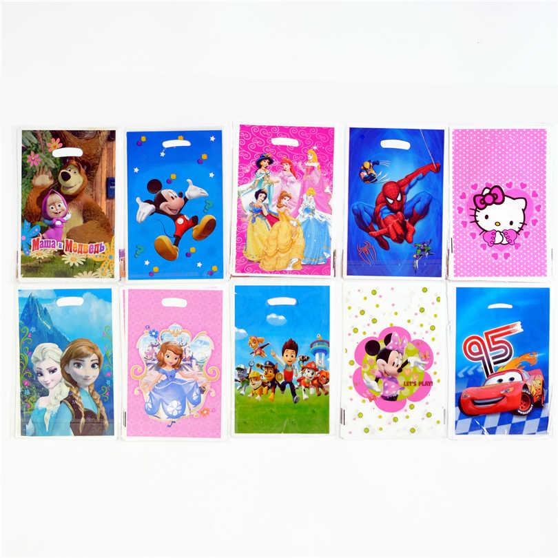 10pcs Lot Gift Bag Loot Mickey Minnie Trolls Pokemon Go Kids Birthday Party Supply