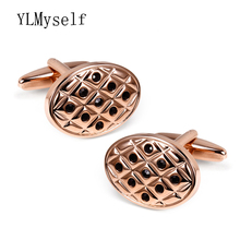 Oval Copper men cufflinks for wedding party Metal crystal stones Gun black/ Rose gold/White Handmade mans cuff links jewelry(China)
