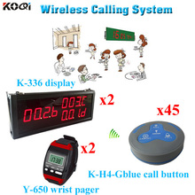 Wireless Table Waiter Service Call Calling Paging System For Restaurant (2 display 2 wrist watch 45 call button)(China)