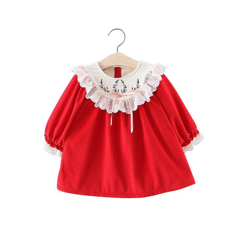 Autumn Toddler Baby Girls Warm Floral Dresses Princess Tutu Ruffle Skirt Clothes