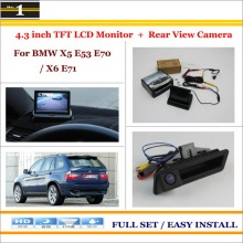"In Car 4.3"" Color LCD Monitor + Car Rear Back Up Camera = 2 in 1 Park Parking System / For BMW X5 E53 E70 / X6 E71"