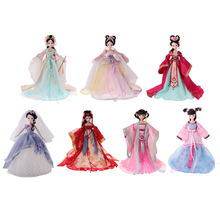 "DIY Flexible 10 Joints Vinyl Body Doll Chinese Ancient Style Costume 11"" BJD Doll Toys with Stand for Girls Birthday Gift Toys(China)"