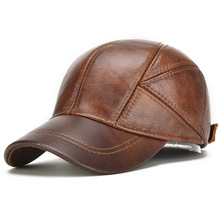 Genuine Leather Baseball Caps Men Winter Hats with Ear Flaps Men's Warm Hat(China)