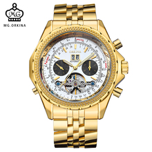 ORKINA Brand Mens Watches Luxury Golden Case Big Dial Homme Montre Auto Date Day Relojes Male Tourbillon Mechanical Wristwatch