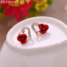 2017 New Hot ! Fashion Fine Excellent Jewelry Gold Color Rhinestones Heart-shaped Rose Flower Stud Earrings For Women Gift E-614
