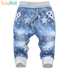 Hot Sale! 2016 New Kids Jeans Elastic Waist Straight Bear Pattern Denim Seventh Pants Retail Boy Jeans For 2-5 Years WB142(China)