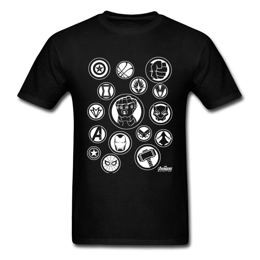 Collector 2018 Cool Men Avengers Symbols Printed T Shirt Infinity War Fashion Black White Tops Tees Punk T-shirt Clothes