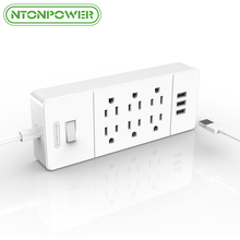 NTONPOWER Family-size 6 Outlets Power Extension Socket US Plug Overload Protection 3 USB Charging Port with 5ft/ 1.5M Power Cord