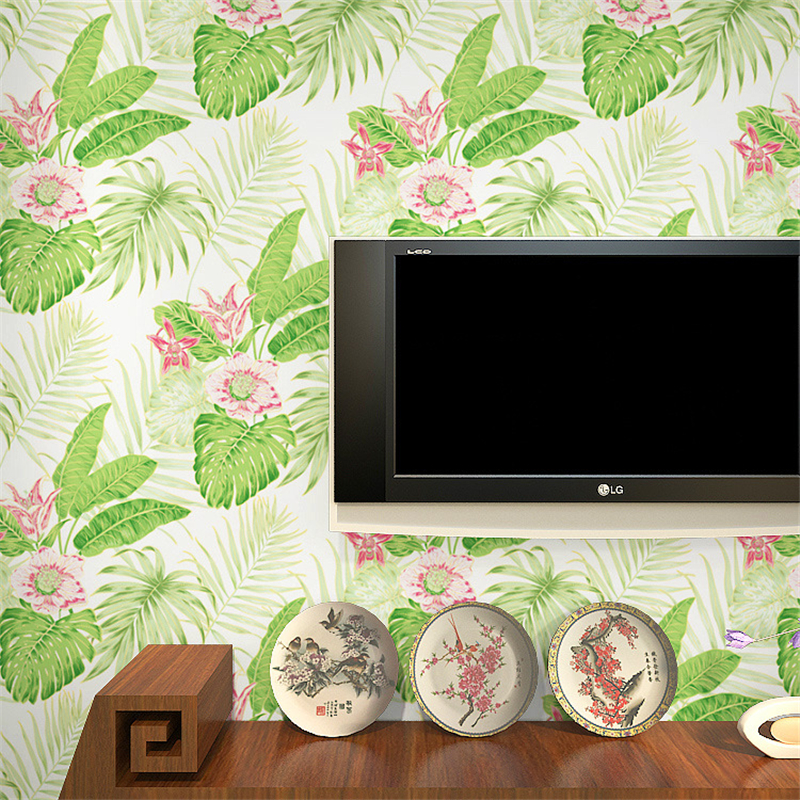 Beibehang Modern wallpaper green purple big leaf flower wallpaper 3d relief tv background sofa background full of wallpaper<br>
