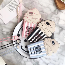 New Cake Ice Cream Cupcake Phone 3D Cute Soft Silicone Case Back Cover with Lanyard for iPhone 5 6 6s 6plus 8 7 plus cover brand(China)
