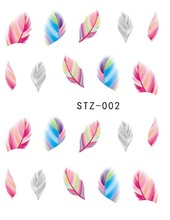 1x Sexy Hot Designs Water Transfer Stickers Nail Art Decorations Beauty Colorful Feather Tattoos Nail Decals Manicure TRSTZ002