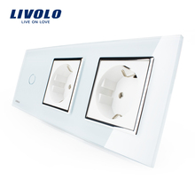 Livolo New Power Socket, EU Standard + CE Certificates, White Crystal Glass Outlet Panel, 2Gang Wall Sockets with Touch Switch