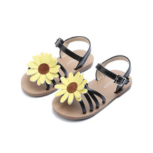 EUR 21-30 2017 Fashion Girls Sandals Beach Shoes Summer Kids Sandal Flowers Flat With Infant Baby Girl Princess Black Sandals