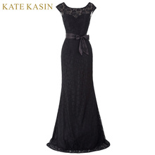 Kate Kasin Mermaid Evening Dresses with Belt Long Mother of the Bride Dress Black Wine Red Lace Dresses for Wedding 0203(China)