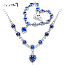 Korean Fashion Romantic Crystal Jewelry Sets For Women Heart Bracelets And Necklace