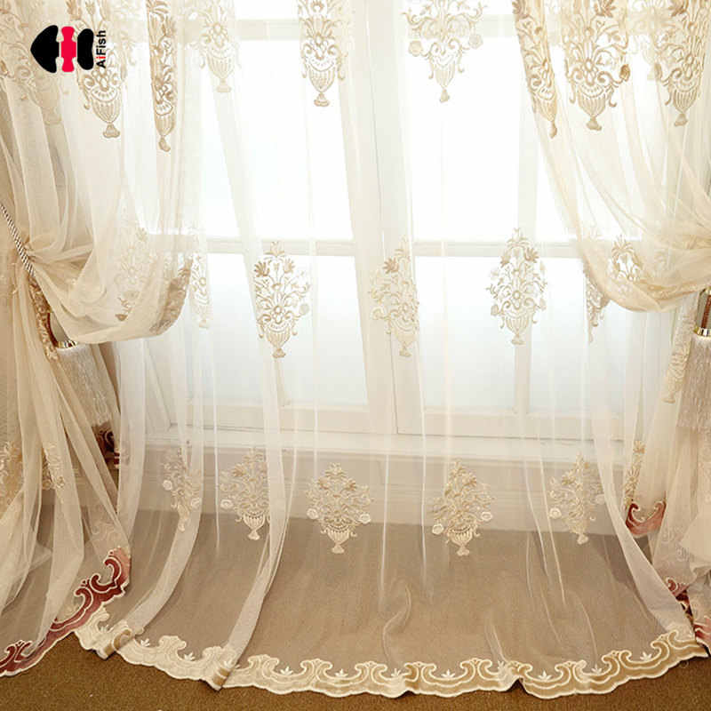 Chinese Classical Luxury Embroidery Flower Yellow Red Cortinas Living Room Wedding Room Window Treatments Curtain Nets WP368D