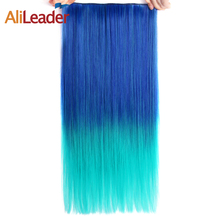 "Alileader Synthetic Hair Clip in Hair Extensions 5 Clips 22"" 55cm 120g Blue Green Pink Gradient Omber Color Women's Hairpieces(China)"