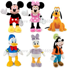 Mickey Minnie and Friends Donald Daisy Duck Goofy Pluto Dog Pelucia Plush Stuffed Animals Kids Soft Toys for Children Gift(China)