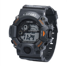 blue shope#3003 Men's Quartz Digital Sports Watches LED Military Silicone Waterproof Wrist Watch