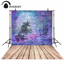 Allenjoy photography background blue purple unicorn brick wall wooden floor background photo studio camera fotografica
