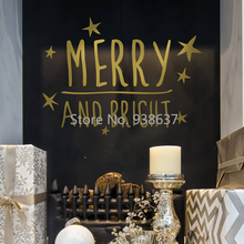Merry And Bright Christmas Sticker Quote Waterproof Vinyl Wall Art Decals Living Room Decor adesivo de parede New Arrival ZB053