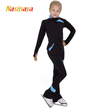 Customized Costume Ice Skating Figure Skating Suit Jacket And Pants Black Skater Warm Fleece Adult Child Girl Less Stitching(China)