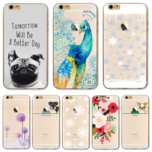 For iPhone 7Plus 5.5'' Soft TPU Cover For Apple iPhone 7 Plus Case Cases Phone Shell New Arrival Painted Noble Flowers Pug Nice