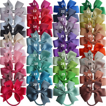 Pinwheel Hair Bow with Elastic Bands 3.5'' Hairbow Kids Girls Hair Accessories PonyTail Holder Hair bands Dovetail bows 40pcs(China)
