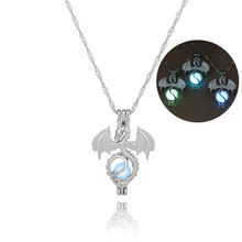 Hollow Out Heart Key Horse cross Punk Luminous Skull Dragon Footprint Pendant & Necklace GLOW in the DARK Glowing jewelry Women(China)