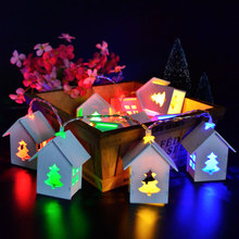 1X4M 20LED Christmas Tree House Shapes Led String Light,Bedroom Decorative String Light for Holiday,Battery Powered String Light