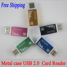 All in 1 Metal case USB 2.0 Card Reader For Micro SD TF MS MS DUO M2 SD SDHC MMC Memory Card Reader Adapter Color optional