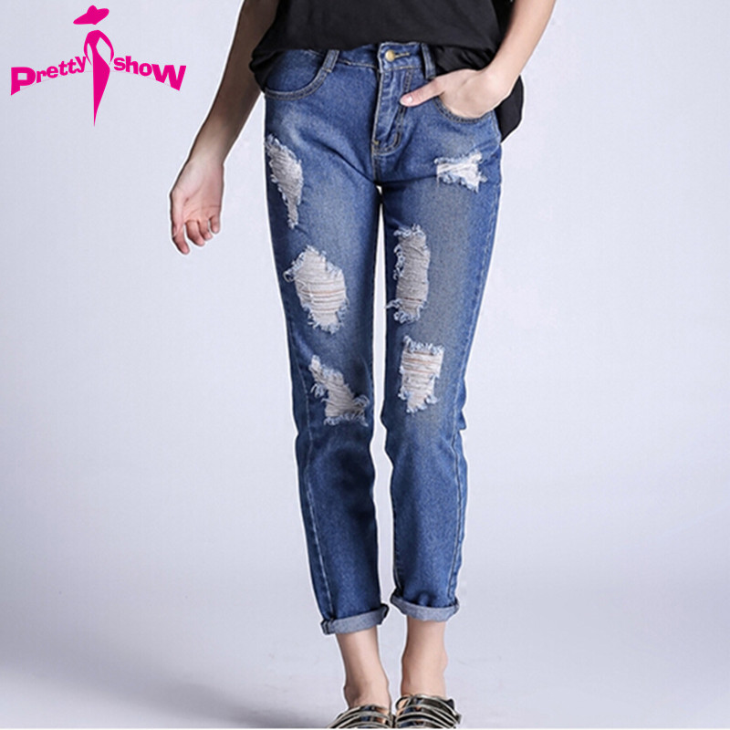 5XL Boyfriend 2017 Spring Blue Ripped Jeans Women Ankle-Length Straight Mid Waist Hole Jeans Plus Size Ladies Jeans Trousers Одежда и ак�е��уары<br><br><br>Aliexpress