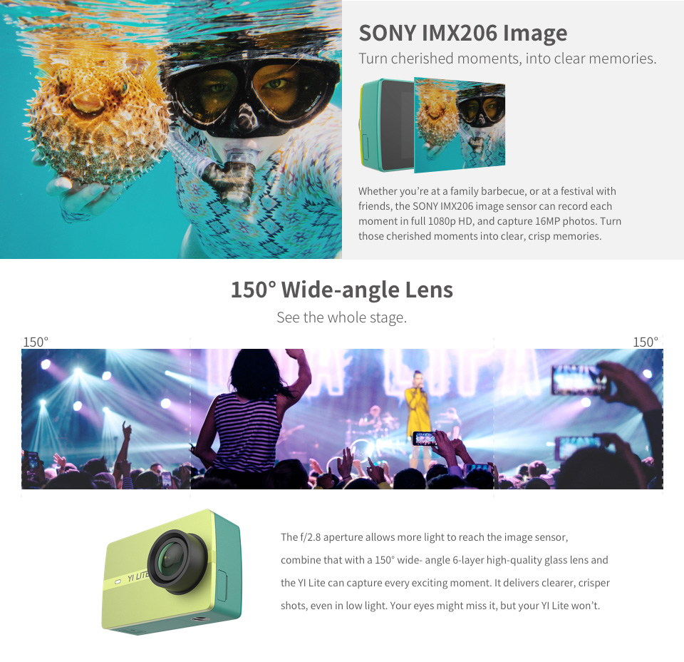 YI Lite Action Camera Sports Camera 16MP 2 Inch LCD Screen Real 4K with Built-in WIFI 150 Degree Wide Angle Lens Global Version 5