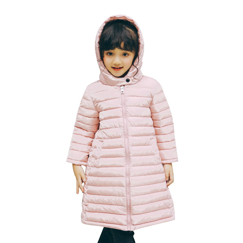 2017 Girl Boys Clothes Jacket Long Parkas Kids Hooded Outerwear Solid Cotton Warm Long Style Children Winter Coats For 3-10Y<br>