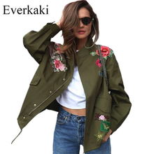Everkaki 2017 Women Basic Coats Peony floral Army Green Summer Embroidery Jacket Streetwear patches Rivet Zipper Retro Parkas