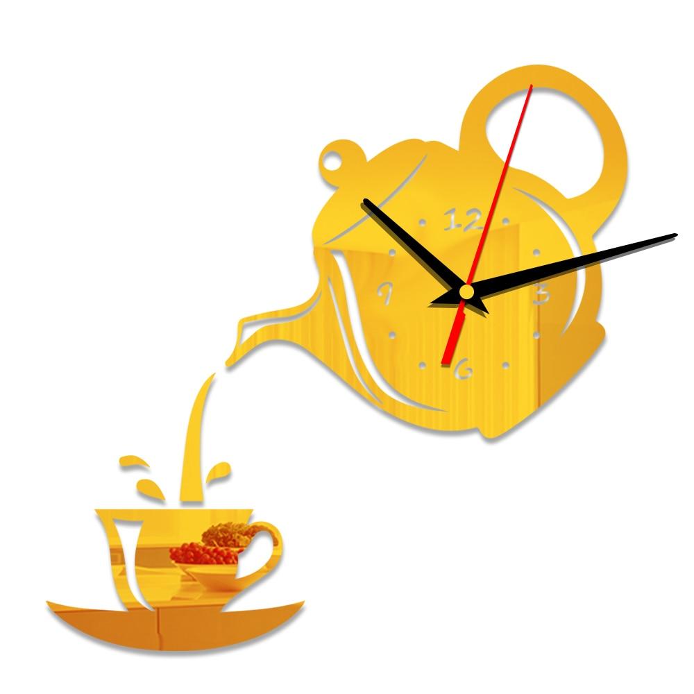 Creative DIY 3D Acrylic Wall Clock Coffee Cup Teapot Kitchen ...