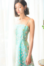 UK European 2017 Summer Light blue / Turquoise Embroidery Spaghetti strap Mid-calf Dress Casual Party Dress Female Vestido
