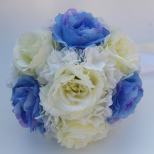 Handmade Artifical Flower Blue White Rose Flowers Wedding Decoration of Bride Bridesmaid Wedding Bouquet Flowers(China)