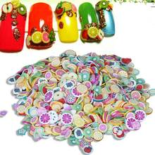1000pcs 3D Nail Art Polymer Clay Stickers Decorations Fruit Style Design Mix Tiny Fimo Slices Use with UV Gel Polish Manicure(China)