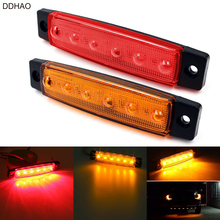 DDHAO 12V 24V 6LED Red Yellow Side Marker Indicators Light Clearance Lights for Car Truck Trailer Lorry Bus(China)