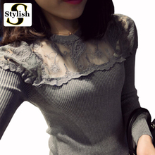 Long Sleeve Blouses Shirts Female Knitted Lace Blouse Women Blouses 2017 Autumn Winter New Fashion Perspective Lace Tops Blusas(China)