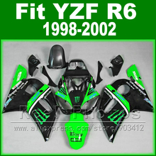 Hot sales  body kits for YAMAHA R6 fairing 1998 1999 2000 2001 2002 green and black  Fit  YZF R6 fairings 1998-2002
