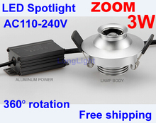 2 Pcs Zoomable Led Spot Light 360 Degree Rotation Led downlight 3W 110V 220V 4000K Display Cabinets Led Lighting Museum CE RoHS
