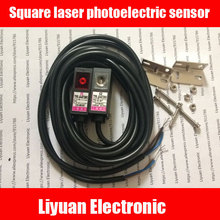 1pair Square laser photoelectric sensor / DC6-36V Beam laser sensor / 0-10m laser photoelectric switch