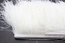Free Shipping 2Yard/lot Beautiful White Ostrich Feathers Ribbon 3-4inchs/8-11cm Trims for Your Dress/Craft hair accessories